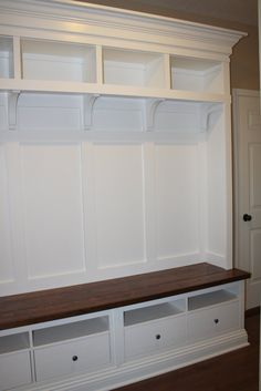 Making mudroom storage from an IKEA hack -- something like this but with larger drawers and hooks -- also not so sure I like those particular style brackets (something more square would be better)