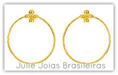 Brincos argola em ouro 750/18k (750/18k gold hoop earrings)