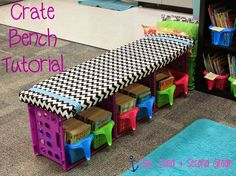 Step by step tutorial for this cute crate bench!! Done in 30 minutes and only cost $20!! :) Cute for a classroom library!!