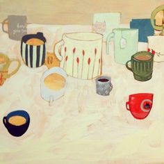 i love my mugs and cups too, maybe i will paint them in a grouping.... rebecca green
