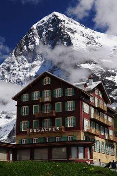 Hotel Bellevue des Alps with Eiger in the background