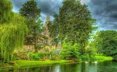 Lovely riverside country church hdr riverside, country, church, hdr) via www. Pleasant View, Widescreen Wallpaper, Green Colors, Photo Art, Waterfall, Castle, Nature, Outdoor, Image