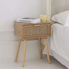Amazon.com: AWASEN Nightstand Mid Century Modern Side Table with Rattan Drawer, End Table with Storage and Solid Wood Legs for Bedroom Living Room Small Space, Easy Assembly (Natural Walnut) : Home & Kitchen Mid Century Modern Side Table, Small Accent Tables, Rattan Side Table, End Tables With Storage, Small Living Rooms, Nightstand, Small Spaces, Mid-century Modern, Solid Wood