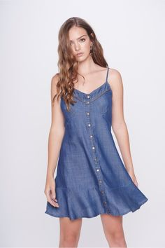 Frock Fashion, Denim Fashion, Womens Fashion, Short Dresses, Girls Dresses, Summer Dresses, Denim Crafts, Dress Sewing Patterns, Lovely Dresses