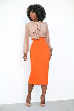 Style Pantry | Front Tie Blouse + Pencil Midi Skirt