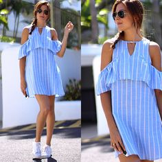 Get this look: http://lb.nu/look/8416057  More looks by Marianela Yanes http://marilynsclosetblog.blogspot.com.es/2016/09/off-shoulder-dress.html #outfits #looks #stripes #shoulder #off #shein #summer #casual #style #streetstyle #fashion #marilynscloset #fashionblogger #fashion #inspiration  http://marilynsclosetblog.blogspot.com.es/2016/09/off-shoulder-dress.html