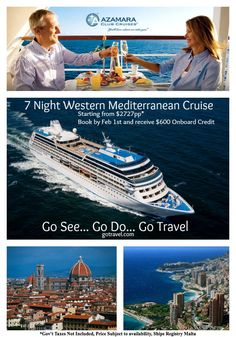 Don't have the time for one of the longer Mediterranean Cruises? Here is a 7NT Western Mediterranean Cruise. Departs from Rome, June 26th 2013 and calls on ports in Elba, Florence, Portovenere, Santa Margherita, Portofino and Monte Carlo. If you book by February 1st, you will receive 600 Shipboard Credit to spend during your vacation! Message us if you are interested!!!! This special is only available to our Facebook fans. Price includes ALL Gov't taxes and port charges. #cruise #vacation