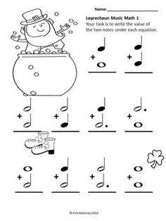 MUSIC:10 LEPRECHAUN MUSIC MATH sheets. $