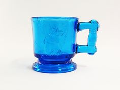 Bryce Brothers Deer and Cow Toy Mug Cobalt Blue Deer and Bull Miniature Glass Cup EAPG - Etagere Antiques, Vintage, Collectibles