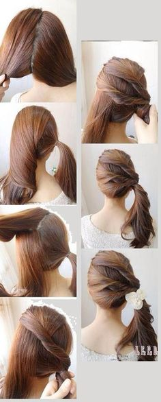 looks like a pretty simple hairstyle. I'd put it in a side bun though
