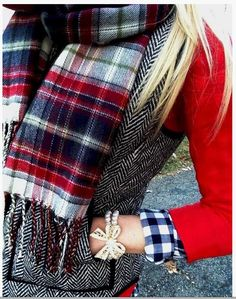 Mix of herringbone with plaid