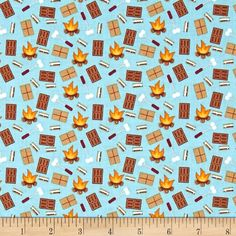 Riley Blake Happy Camper Smores Blue from @fabricdotcom  Designed by Doodlebug Designs for Riley Blake, this cotton print fabric is perfect for quilting, apparel and home decor accents. Colors include white, shades of blue and shades of brown.