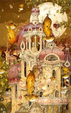 """Moon Château"" ~ Daniel Merriam ~ Watercolorist Extraordinaire ~ Miks' Pics ""Daniel Merriam ll"" board @ http://www.pinterest.com/msmgish/daniel-merriam-ll/"