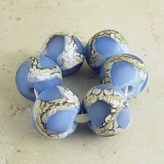 Blue Handmade Lampwork Glass Beads Set of 6 Etched Frosted Finish Organic Webbed Silvered Ivory 14x11mm Glacier Velvet by SpawnOfFlame on Etsy https://www.etsy.com/listing/103349430/blue-handmade-lampwork-glass-beads-set