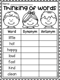 Synonyms and antonyms worksheet for first grade and second grade. Students find a synonym for each word. Synonym Activities, Synonym Worksheet, 1st Grade Math Worksheets, English Worksheets For Kids, A An Worksheet, Antonyms Worksheets, Teaching Writing, Teaching English, Teaching Vowels