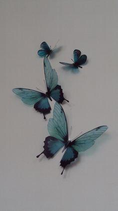 4 Luxury Amazing Teal Blue  Butterflies 3D  Butterfly Wall Art. $11.50, via Etsy.