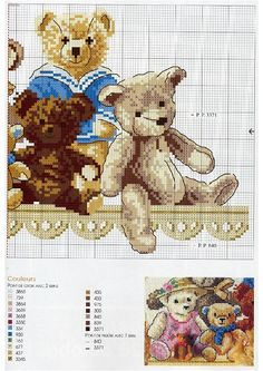 Children -teddy bears on shelf Cross Stitch For Kids, Cute Cross Stitch, Cross Stitch Animals, Cross Stitch Charts, Cross Stitch Designs, Cross Stitch Patterns, Christmas Embroidery Patterns, Needlepoint Patterns, Cross Stitching