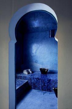 Traditional Moroccan bathroom in ice blue. #Moroccan #Bathroom.