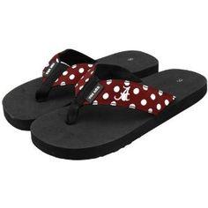 NCAA Alabama Crimson Tide Ladies Crimson Polka Dot Flip Flops
