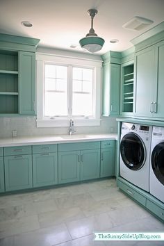 Dream laundry room, in a beautiful color! Upstairs Laundry Room - The Sunny Side Up Blog