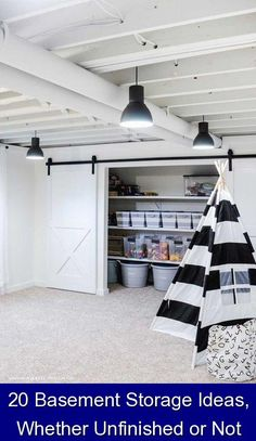 20 Basement Storage Ideas, Whether Unfinished or Not {18424} #laundry #storage #ideas #laundrystorageideas Here's how to turn that subterranean afterthought into one of the most practical rooms in the house. Basement Closet, Basement Living Rooms, Small Basement Remodel, Basement House, Basement Renovations, Basement Ideas, Organized Basement, Home Remodeling Diy, Unfinished Basement Ceiling
