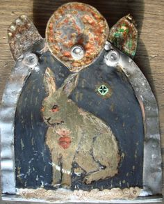 Sacred Heart Summer Snowshoe Hare  Art Recycled Viking by mousykat, $65.00