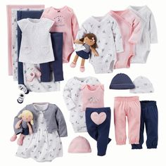 A complete gift bundle for baby& first wardrobe Outfits Niños, Newborn Outfits, Toddler Outfits, Kids Outfits, My Baby Girl, Baby Love, Carters Baby Girls, Baby Girl Fashion, Kids Fashion