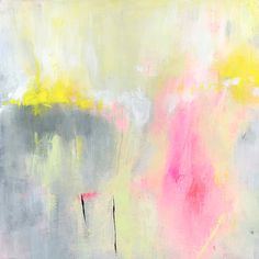 Yellow Pink Original Abstract Painting 12x12 acrylic contemporary art on canvas board grey neon mint green on Etsy, $73.65 CAD