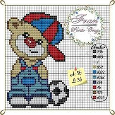 Baby Cross Stitch Patterns, Cross Stitch For Kids, Mini Cross Stitch, Cross Stitch Animals, Cross Stitch Charts, Hardanger Embroidery, Bobble Stitch, Crochet Baby Clothes, Alpha Patterns