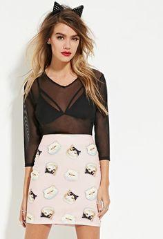 Eric + Lani Cat Print Skirt | Forever 21 - 2000164227