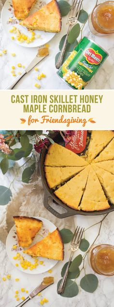 Classic cornbread filled with whole corn kernels and slightly sweetened with maple and honey. This cast iron skillet honey maple cornbread is delicious and easy to make, perfect for get togethers with friends and family. Iron Skillet Recipes, Cast Iron Recipes, Skillet Meals, Cast Iron Cooking, Maple Syrup, Thanksgiving Recipes, Cornbread, Carne, The Help