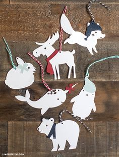 2015/02/07 Printable template for cute winter animal tags. Use template to cut from colored paper or other materials. Perfect as ornaments or gift tags - $3.00 USD