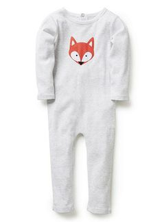 Cotton/elastane long sleeve jumpsuit with all over mini stripe. Available with a front bunny or fox printed applique. Features contrast neck bind and snap back opening with flap.