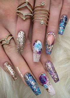 """If you're unfamiliar with nail trends and you hear the words """"coffin nails,"""" what comes to mind? It's not nails with coffins drawn on them. Although, that would be a cute look for Halloween. It's long nails with a square tip, and the look has. 3d Nail Art, Cute Acrylic Nails, 3d Nails, Acrylic Nail Designs, Glitter Nails, Pastel Nails, Glitter Shoes, Art 3d, Bling Nails"""