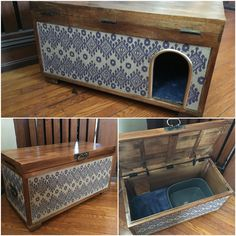 Cutest way to hide cat litter box!!! My husband and I made this last night and I love it!