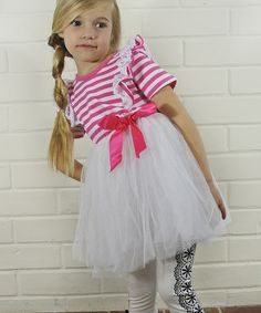 Another great find on #zulily! Pink Stripe Bow Dress - Toddler #zulilyfinds