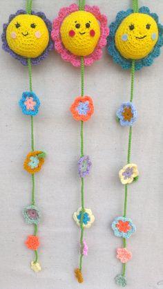 Happy Flowers Crochet Wall Hanging Decor by MsBittyKnacks on Etsy, $17.00