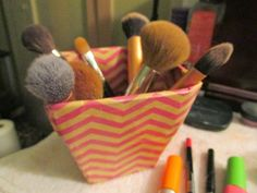 Lifestyle | Food | Art | Faith | Music: Craft Time! I decided I wanted to make a makeup brush holder instead of buying one that just wasn't me. So here's how I did it! #bareminerals #cardboard #chevron #craft #crafttape #DIY #holder #makeup #makeupbrush #modpodge #pencil #realtechniques #sharpie #steps