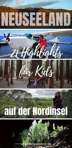 Wir haben Neuseeland Highlights für Kinder gesammelt, die auch Eltern Spaß machen! In Teil 1 zeigen wir euch 21 Nordinsel Must Dos für Kinder.#Neuseeland #Bucketlist #NeuseelandmitKind #Nordinsel Kiwiana, Travel Companies, New Zealand, Travel Destinations, Cool Designs, Thankful, How To Apply, Messages, Highlights