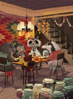 Little hedgehog on Behance. I would love to sit at the table with these guys. So lovely...
