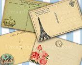 Vintage Postcard Printable images Digital Download for Gift Tags Labels Decoupage - Downloadt No.123
