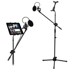 AmazonSmile: Microphone and Tablet Tripod Boom Stand Kit, Kasonic 2-in-1 Adjustable Telescopic Tablet Holder for Apple iPad Air Mini Samsung Galaxy Note Pro Microsoft Surface Google Nexus: Cell Phones & Accessories