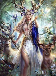 Fairy with Deer - Diamond Painting Kit Fantasy Girl, Fantasy Women, Fantasy Fairies, Fantasy Artwork, Fantasy Creatures, Mythical Creatures, Elfen Fantasy, Creation Art, Fairy Pictures