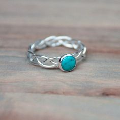 Braided Silver Ring Set With Turquoise Cabochon 6mm Your Size. £25.00, via Etsy.