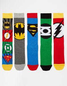 Imagen 1 de Pack de 5 pares de calcetines con diseño de la Liga de la Justicia de ASOS