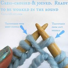 Learn How to Join in the Round With Circular Knitting! 2019 Picture of The Two Stitches You Transferred Will Look Criss-crossed The post Learn How to Join in the Round With Circular Knitting! 2019 appeared first on Knit Diy. Knitting Help, Easy Knitting, Knitting Socks, Knitting Stitches, Knitting Wool, Circular Knitting Patterns, Knit Basket, How To Purl Knit, Knit Or Crochet
