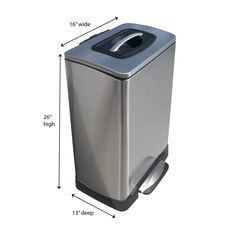The TK®10 Trash Krusher looks like a modern stainless steel trash can with a soft touch pedal and a slow-closing lid, but inside this attractive 40-liter/10.5-gallon can is a unique, patented manual trash compactor system. It's easy to use and quiet. Just grab the handle on the lid and push. Your household trash will be crushed. No special bags or electricity is required--just the force of your hand. You'll get twice as much trash in every bag. A switch lets the lid remain open for Trash Compactors, Kenmore Refrigerator, Garbage Can, Plastic Waste, Clean Up, It's Easy, Manual, Household, Handle