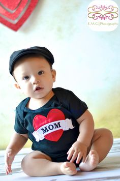 Boys Heart with Mom Applique Black T Shirt or Onesie for Baby, Toddler, or Youth. $22.00, via Etsy.