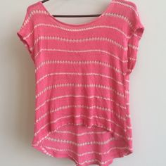 Forever 21 - Crochet Coral/Beige Shirt Short sleeved shirt. Coral and tan. Great color for summer. Longer in the back. Looks great on! Forever 21 Tops Blouses