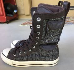 10b9dff4d1124 Converse All Star Hi high top Women s 6 Men 4 black white houndstooth Wool